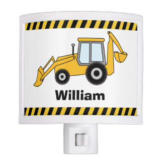 Yellow Backhoe and Loader Personalized Night Light