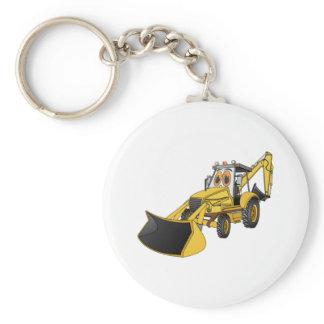Yellow Backhoe Cartoon Keychain