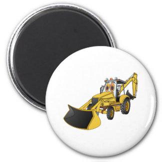 Yellow Backhoe Cartoon Magnet