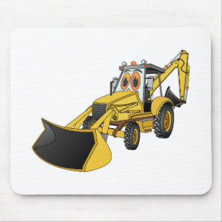 Yellow Backhoe Cartoon Mouse Pad