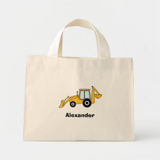 Yellow Backhoe With Loader Personalized Mini Tote Bag