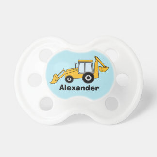 Yellow Backhoe With Loader Personalized Pacifier