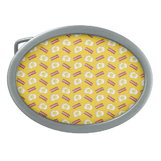 Yellow bacon and eggs oval belt buckles