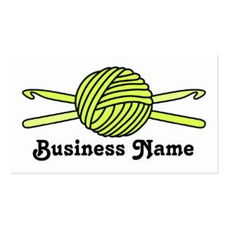 Yellow Ball of Yarn & Crochet Hooks Business Card Template