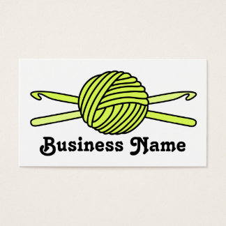 Yellow Ball of Yarn & Crochet Hooks Business Card