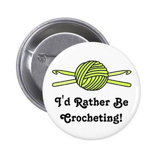 Yellow Ball of Yarn & Crochet Hooks Pinback Buttons