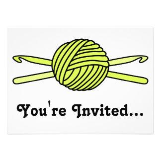 Yellow Ball of Yarn & Crochet Hooks Personalized Invite