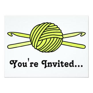 "Yellow Ball of Yarn & Crochet Hooks 5.5"" X 7.5"" Invitation Card"