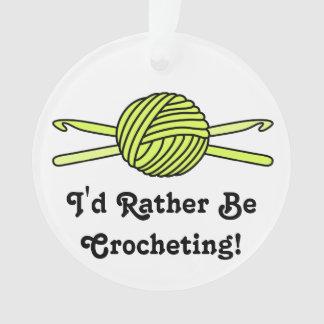 Yellow Ball of Yarn & Crochet Hooks Ornament