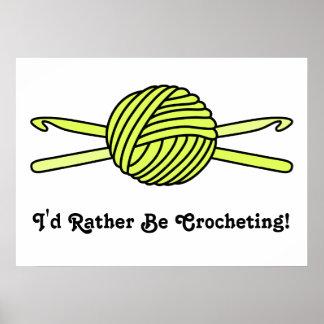 Yellow Ball of Yarn & Crochet Hooks Poster