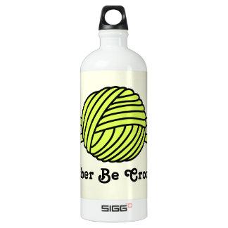 Yellow Ball of Yarn & Crochet Hooks (Yellow Back) Aluminum Water Bottle