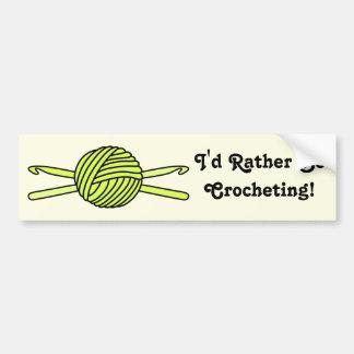 Yellow Ball of Yarn & Crochet Hooks (Yellow Back) Bumper Sticker