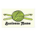 Yellow Ball of Yarn & Crochet Hooks (Yellow Back) Double-Sided Standard Business Cards (Pack Of 100)