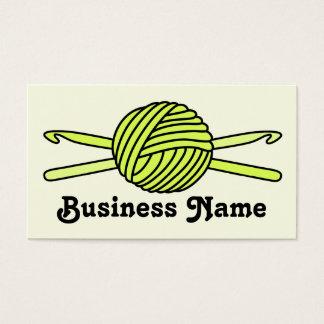 Yellow Ball of Yarn & Crochet Hooks (Yellow Back) Business Card