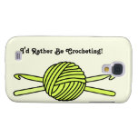 Yellow Ball of Yarn & Crochet Hooks (Yellow Back) Galaxy S4 Covers