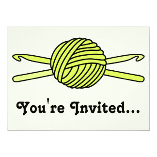 "Yellow Ball of Yarn & Crochet Hooks (Yellow Back) 5.5"" X 7.5"" Invitation Card"