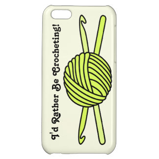 Yellow Ball of Yarn & Crochet Hooks (Yellow Back) Cover For iPhone 5C
