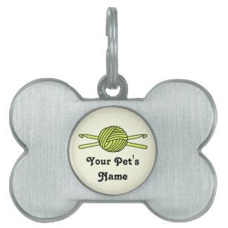 Yellow Ball of Yarn & Crochet Hooks (Yellow Back) Pet Name Tags
