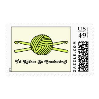 Yellow Ball of Yarn & Crochet Hooks (Yellow Back) Postage