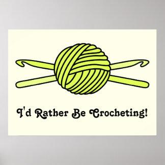Yellow Ball of Yarn & Crochet Hooks (Yellow Back) Poster