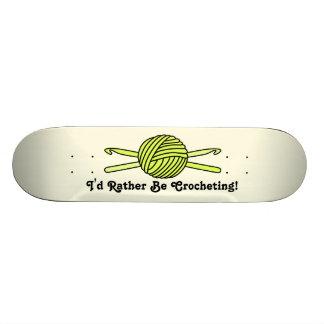 Yellow Ball of Yarn & Crochet Hooks (Yellow Back) Skateboard