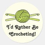Yellow Ball of Yarn & Crochet Hooks (Yellow Back) Sticker