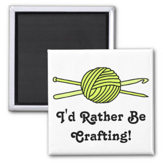 Yellow Ball of Yarn (Knit & Crochet) 2 Inch Square Magnet