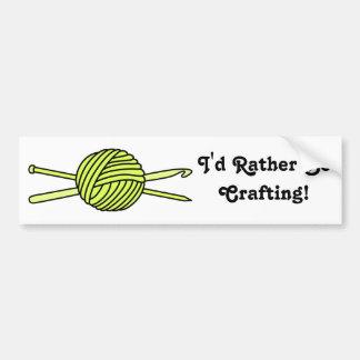Yellow Ball of Yarn (Knit & Crochet) Bumper Sticker