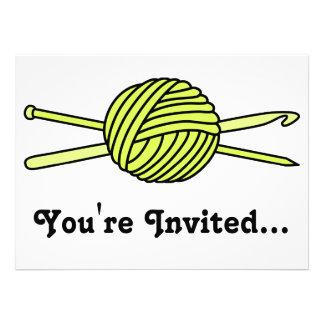 Yellow Ball of Yarn (Knit & Crochet) Invitation