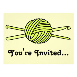 Yellow Ball of Yarn (Knit & Crochet) Personalized Announcements