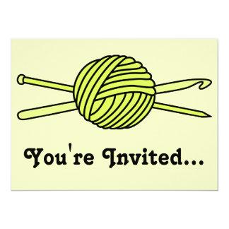 "Yellow Ball of Yarn (Knit & Crochet) 5.5"" X 7.5"" Invitation Card"
