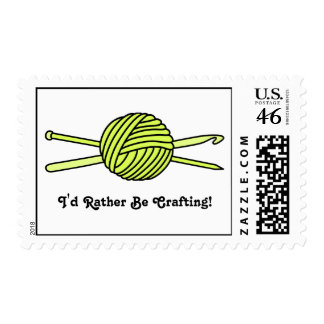 Yellow Ball of Yarn (Knit & Crochet) Postage Stamp