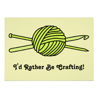 Yellow Ball of Yarn (Knit & Crochet) Print