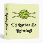 Yellow Ball of Yarn & Knitting Needles 3 Ring Binder