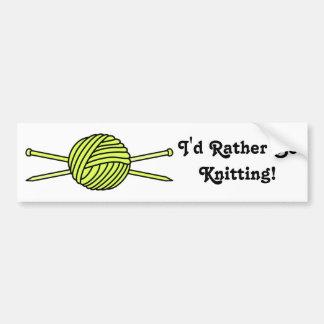 Yellow Ball of Yarn & Knitting Needles Bumper Sticker