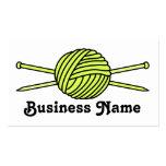 Yellow Ball of Yarn & Knitting Needles Business Card Templates