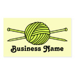 Yellow Ball of Yarn & Knitting Needles Business Cards