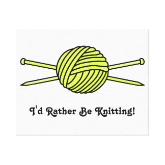 Yellow Ball of Yarn Knitting Needles Gallery Wrapped Canvas