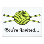 Yellow Ball of Yarn & Knitting Needles Card