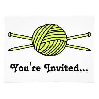 Yellow Ball of Yarn Knitting Needles Custom Invite