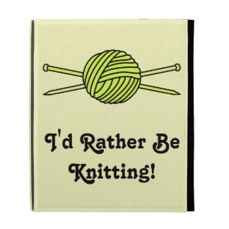 Yellow Ball of Yarn & Knitting Needles iPad Folio Case