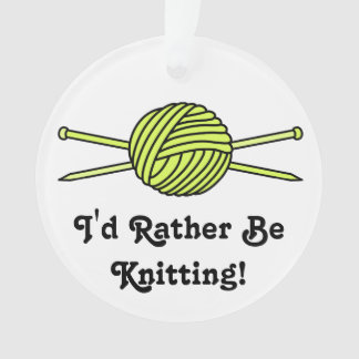Yellow Ball of Yarn & Knitting Needles Ornament