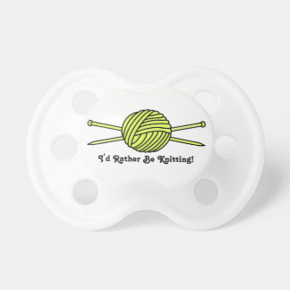 Yellow Ball of Yarn & Knitting Needles Pacifier