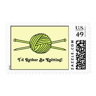 Yellow Ball of Yarn & Knitting Needles Postage