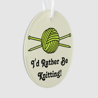 Yellow Ball of Yarn & Knitting Needles (Version 2) Ornament