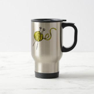 Yellow Ball of Yarn 15 Oz Stainless Steel Travel Mug