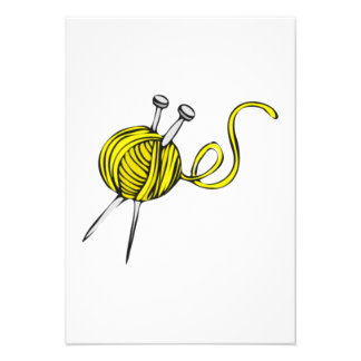 Yellow Ball of Yarn Personalized Invite