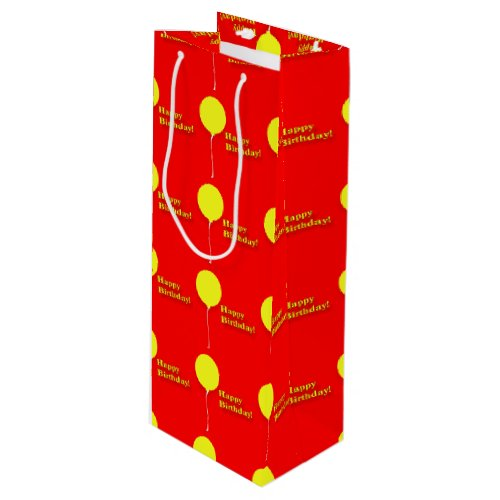 Yellow Balloons Happy Birthday Wine Gift Bag