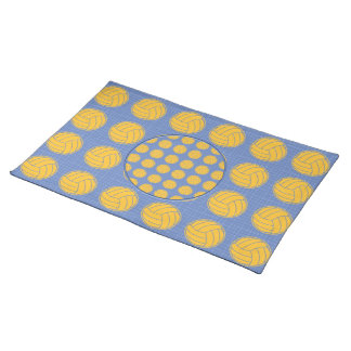 Yellow balls on blue background cloth placemat