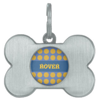 Yellow balls on blue background pet tag